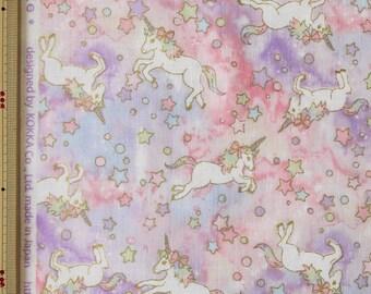 Kokka Unicorn Design Japanese Fabric / Double Gauze Pink - 110cm x 50cm