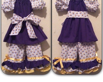 Bayou Baby Peasant Dress and Ruffle pant set