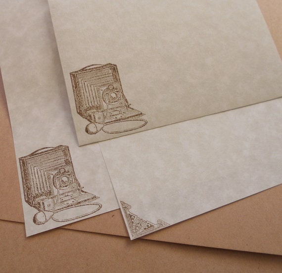 Parchment Paper Stationery Set Hand Stamped Writing Paper