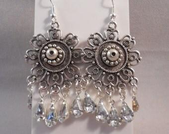 Silver Flower Chandelier Earrings with Silver Disc Dangles