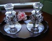 Vintage crystal candleholders 2 pc set wedding table setting wedding table decor party decor home decor crystal centerpiece