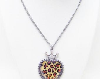 Leopard Print Heart Pendant Necklace