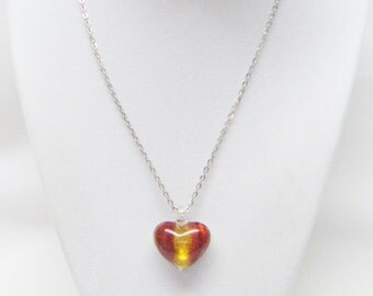 Red/Gold Puffy Lamp Work Glass Heart Pendant Necklace