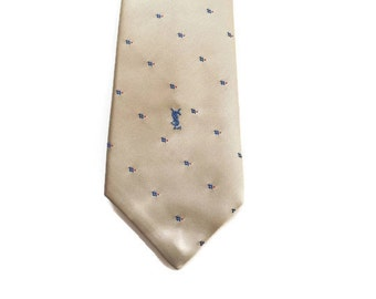 """80s Yves St. Laurent Logo Tie - Light Brown With Blue and Red Dots and Blue Logo - 3 1/4"""" - 3.25"""" - YSL - Yves Saint Laurent - Tan - Sand"""