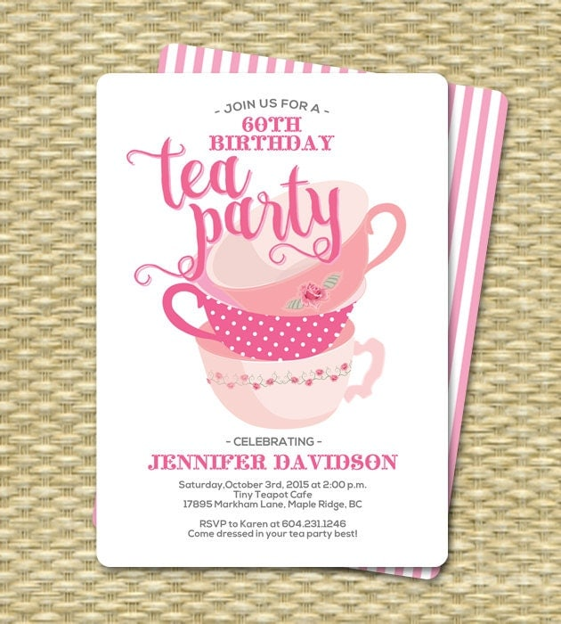 High tea invitation – Kids Tea Party Invitations