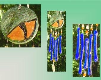 Blue Dragon Glass Wind Chime Ceramic Garden Decor Stained Glass Window Suncatcher Mobile Pottery Fantasy Art