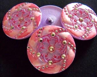 Czech  Glass  Buttons  3 pcs   Gorgeous    32mm  IVA 035