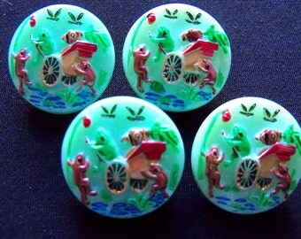 Czech  Glass Buttons  4 pcs   FROG PRINCE    22 mm     IVA 072