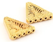 Filigree Flat Triangle Multi Strand Connector, Jewelry End, Gold Plated, 2 pieces // GF-091