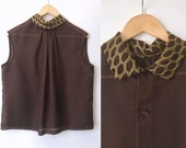 1960s Blouse - 60s Sleeveless Top - Sheer Brown Chiffon Edged in Gold - Button Back - Large