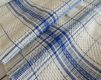 """FREE SHIP WORLD Antique Hand Woven Linen Roll  Fabric for Towels Toweling Swedish  Blue Stripes Scandinavien  30 """" by 3.94  Yards"""