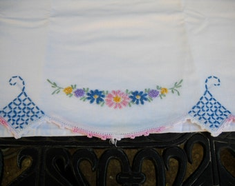 Vintage Pillowcase, Pretty Embroidered Flowers, Perfect Condition