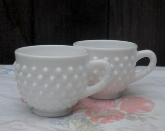 Vintage Milkglass Cups, Fenton Hobnail, Vintage, Small, Selling Individually