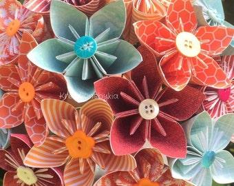Orange Blossom- Paper Flower Bouquet// Paper Bridal Bouquet // Kusudama Origami Bouquet/ Wedding/ Bridal Bouquet/ Bridesmaid Bouquet