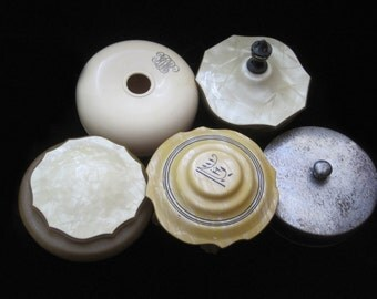 Powder Jar Lot Vintage Celluloid Vanity Jars Glass Antique Hair Receiver French Celluloid Retro Collection Boxes Jars with Lids