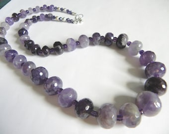 Purple amethyst necklace - semi-precious stone and sterling silver necklace - purple gemstone jewelry