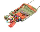 Vintage Hindu textile necklace - upcycled fabric jewelry - Boho textile necklace - OOAK