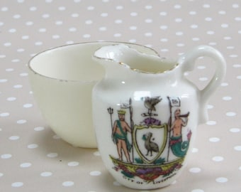 Vintage Miniature Crested Gemma City of Liverpool Jug and Plain Bowl for Dollshouse or Collector