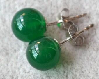 green jade earrings, 8mm green round stone earrings, green earrings, birthday lucky stone, Cabochon Gemstone post studs, green jade stud