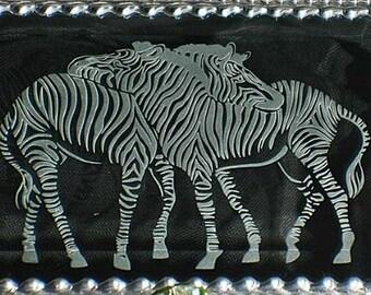 Zebra Etched Glass Jewelry Box -  Faberge Style