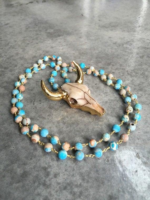 Long horn bull necklace