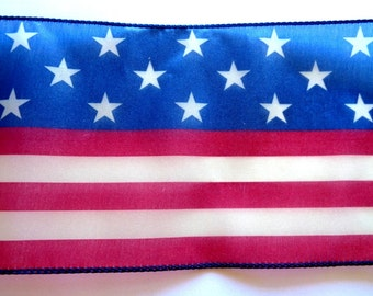 American Flag Extra Wide Wired Ribbon, Multi, 6 inch wide, 1 yard, For Adornments, Gift Packing, Wreaths, Center Pieces, Home Decor