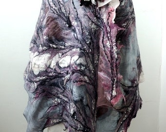 "Nuno felted grey scarf shawl poncho felting wool luxury floral romantic tippet stole ""Nocturne"""