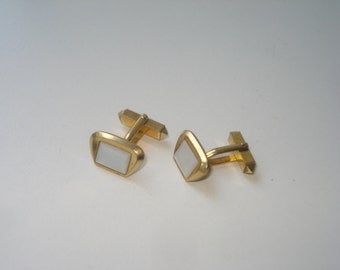 Vintage Cuff links - Mother of Pearl Gold Tone Men's Accessories 1960's  - Men's Formal