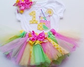 Pink Lemonade Tutu outfit, 3 pc outfit Birthday Lemonade outfit, Extra Full Shabby Chic Tutu set