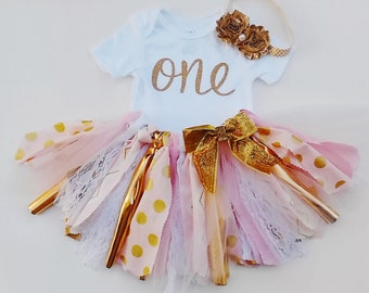 Gold One First Birthday, Gold And Pink Birthday, Pink And Gold 1st Birthday Tutu Outfit, Scrap Tutu