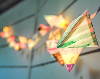 Paper Lantern Lights - ELECTRONS - handmade geometric lanterns with pastel green stripes and rose, wedding and party decorations