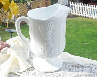 Beautiful Milk Glass Pitcher  With harvest Grape Pattern