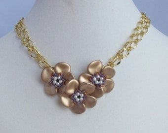 Matte Gold Rose Petal Posy Necklace on Doubled Gold Plated Chain