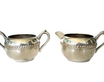 Vintage Silver Plate Sugar and Creamer, F B Rogers Silver Plate 1883 Shabby Cottage Chic