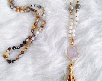 Natural White Onyx and Druzy Tassel Necklace