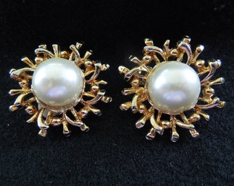 Vintage Clip Earrings, Gold Tone Sun Style, Faux Pearl Center