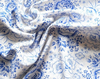 vintage fabric blue roses antique french fabric patchwork fabric quilting fabric blue floral fabric  170