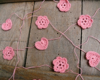 Crocheted hearts and flowers, wedding garland, crochet Garland, Wall Hanging, Wedding crochet garland, embellishment cotton pink applique
