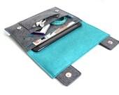 iPad Mini/2/3 Case Organiser, Sleek Case- iPad Air/2 Case Organiser- iPad/2/3/4 Case Organiser, Case Organiser- Charcoal Grey & Blue Marine