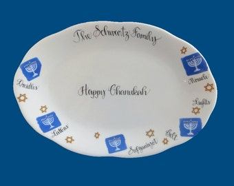 Personalized Hand Painted Porcelain Chanukah Platter