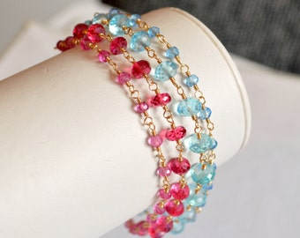 Multistrand Bracelet, Gold Filled, Multi Strand, Blue and Hot Pink Quartz, Bridal Jewelry - Tropical Punch - Free Shipping