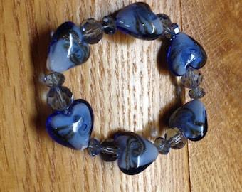 Vintage Costume Glass Blue Heart Beaded Stretch Bracelet