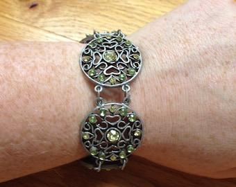Vintage Silvertone With Green Rhinestone Bracelet, Length 9.25''