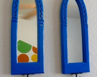 Vintage Blue Mirrored Wall Candle Sconces Hand Carved Cathedrial Style Enamel Paint