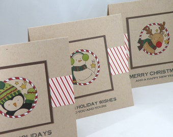 Three Kraft Christmas Cards with Penguin, Snowman and Reindeer