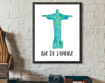Rio De Janeiro, Brazil Watercolor Print - Christ The Redeemer