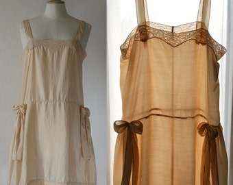 On order, Silk slip, fully hand-stitched, beige off-white, Lingerie 1920's style