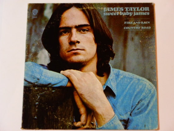 """James Taylor - Sweet Baby James - """"Blossom"""" - """"Fire and Rain"""" - Warner Brothers Records 1970 Re-Issue - Vintage Vinyl LP Record Album"""
