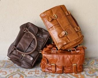 Genuine Leather Mini Duffle Bag - Choose a color