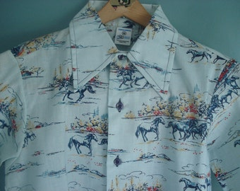 Vintage button down - great western print